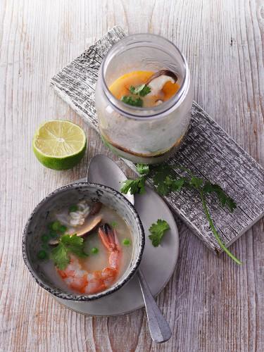 Coconut rice soup with prawns form a jar
