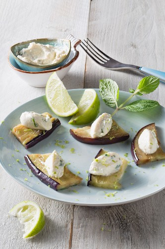 Vegan lime and wasabi cream cheese on aubergines