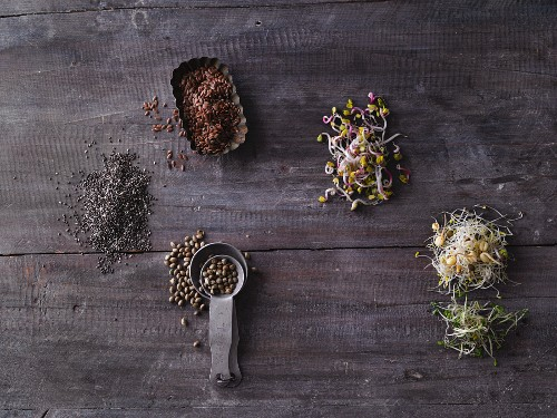 Seeds and shoots on a wooden surface (seen from above)