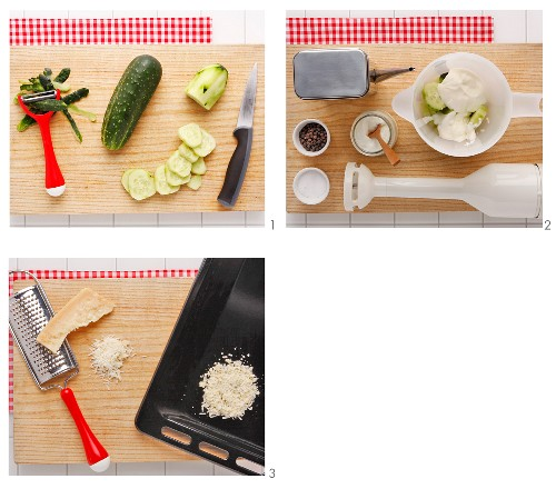 Cold cucumber and yoghurt soup with a Parmesan wafer being made