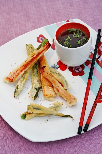 Vegetable tempura with a soya and coriander dip