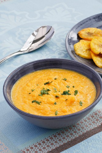 Carrot soup with plantain chips