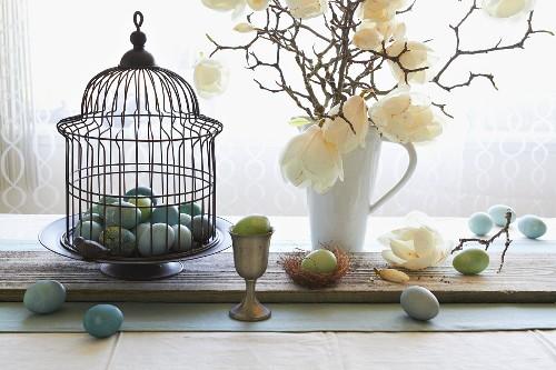 Still-life arrangement of Easter eggs