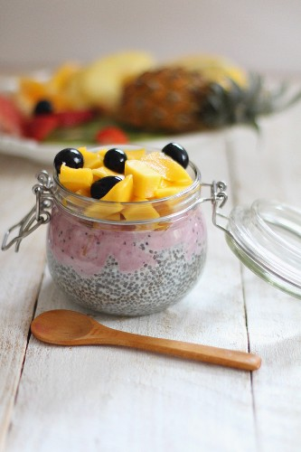 Chia seeds with fresh fruit