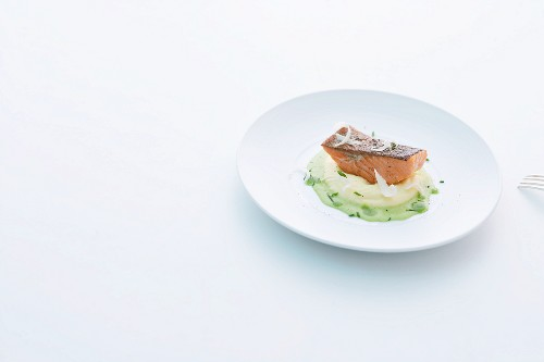 Salmon trout on mashed potatoes with chive foam and horseradish