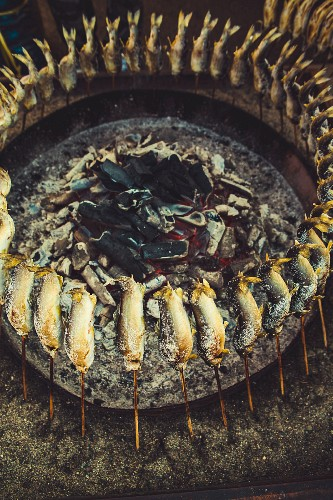 Ayu fish on skewers around a barbecue