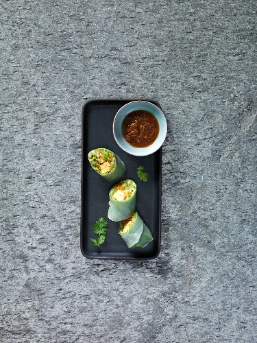 Sous-vide rolls with egg custard and coriander dip (Asia)