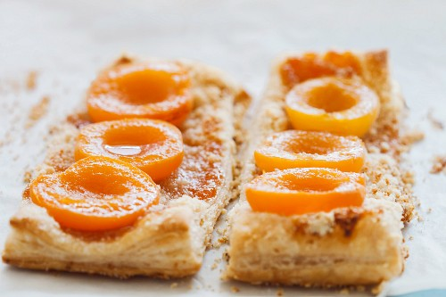 Puff pastry apricot slices