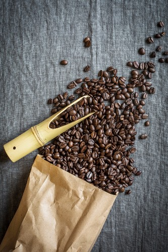 Coffee beans spilling from a paper bag with a bamboo scoop on a grey linen cloth