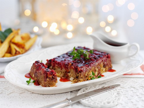 Nut roast (vegetarian roast made with chestnuts and cranberries)