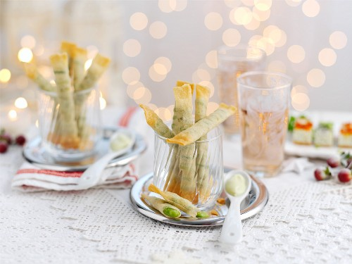 Filo pastry rolls filled with Edamame beans for Christmas