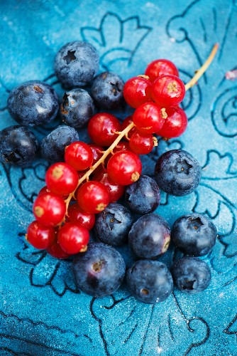 Fresh blueberries and red currants (view from above)
