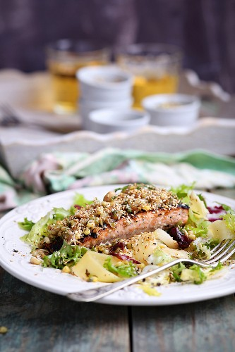Salmon with sesame seeds, bean sprouts, gluten-free tagliatelle and salad