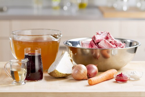 Ingredients for demi glace (basic brown sauce)