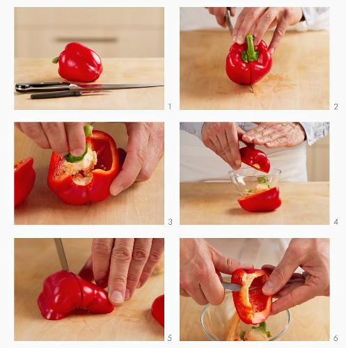 Peppers being prepared