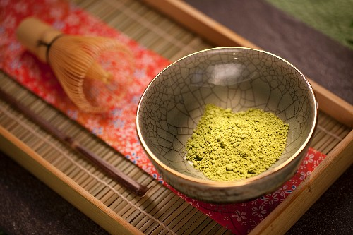 Japanese Matcha Green Tea Powder in a Ceremonial Matcha Bowl