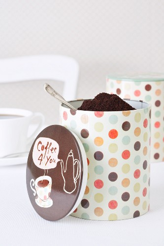 Polka dotted coffee cans