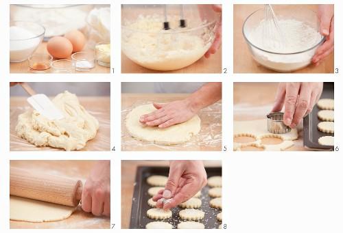 Rolled sugar cookies being made