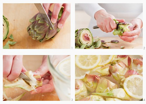 A medium artichoke being cleaned, the stem peeled, hairs being removed and the vegetable being placed into lemon water