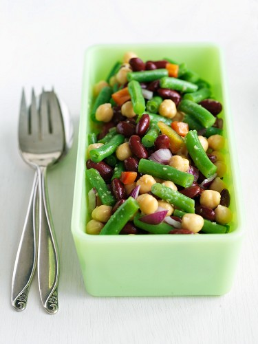 Three Bean Salad in a Jade Green Dish