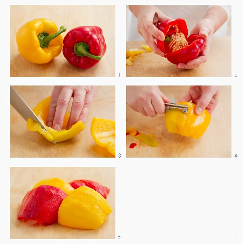Peel peppers with a vegetable peeler