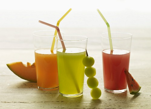 Melon Aguas Frescas; Cantaloupe Agua Fresca, Watermelon Agua Fresca and Honeydew Agua Fresca; Each with Fresh Fruit