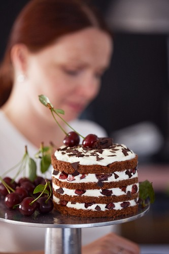 Black Forest gateaux in confectioners