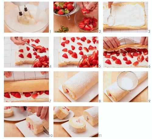 Preparing strawberry and cream sponge roulade