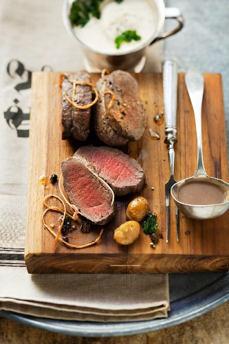 Saddle of venison with chestnut sauce
