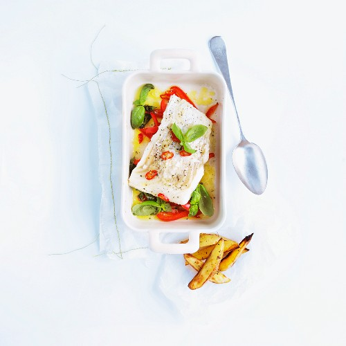 Cod fillet with pepper and basil