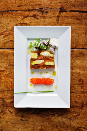 Aspic with trout caviar