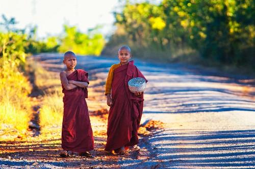 Novice Buddhist monks on a road