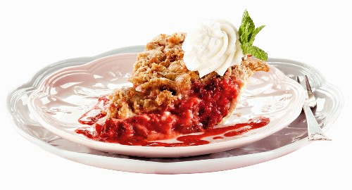 A Slice of Strawberry Pie with a Dollop of Whipped Cream on Two Stacked Plates