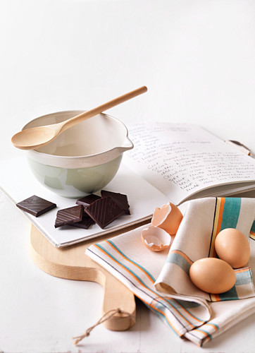Baking ingredients and recipe book