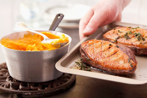 Fried duck breast with sweet potato puree