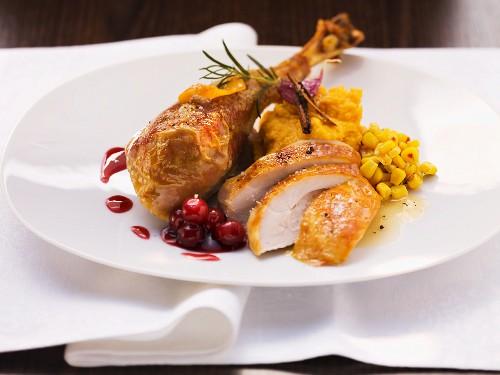Roast turkey with cranberries and sweet potato puree