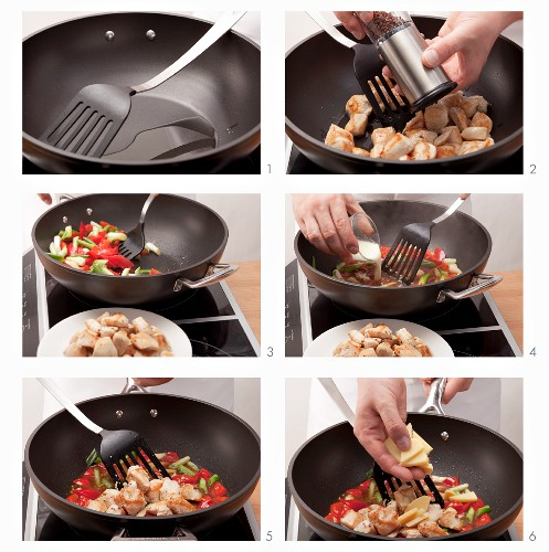 Preparing stir-fried chicken and vegetables with Sichuan pepper