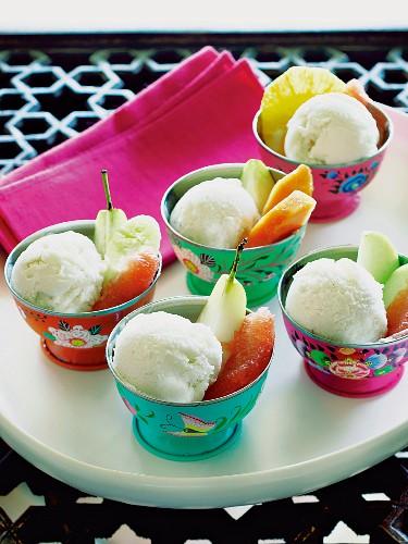 Cherimoya sorbet with fresh fruit