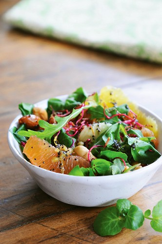 Citrus salad with nuts & lemon and poppy seed vinaigrette