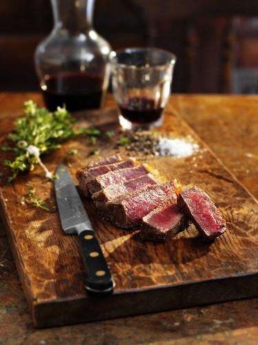 Sliced Wagyu beef steak