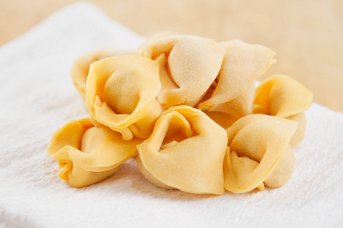 Home made tortellini filled with ground beef
