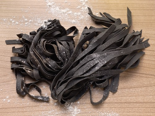 Tagliatelle coloured with cuttlefish ink