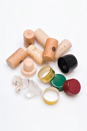 Various wine bottle caps and stoppers