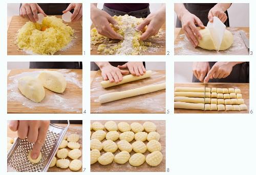 Potato gnocchi being made