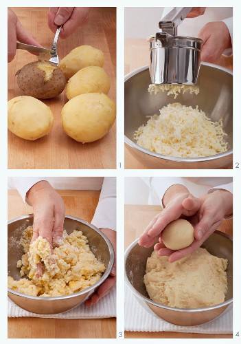 Potato dumplings being made of cooked potatoes