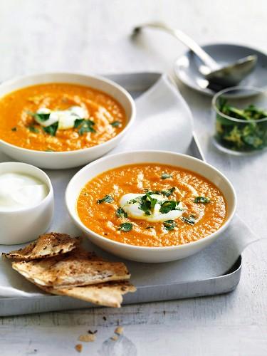Cream of carrot soup with yogurt