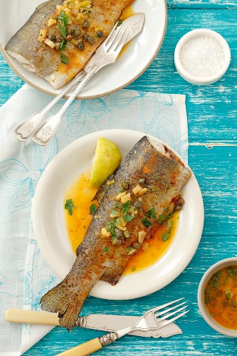 Trout with capers and pepper sauce