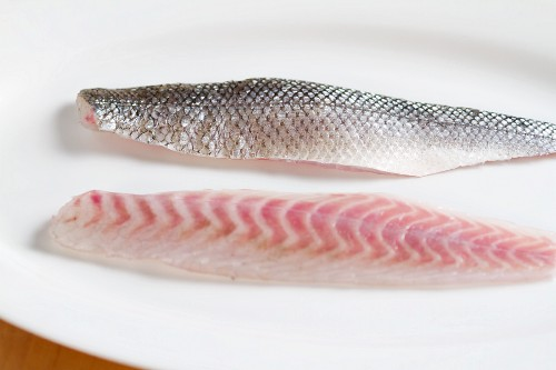 Bass fillets, with and without skin