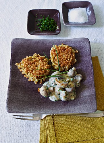 Ebly rösti (Swiss hash browns) in a chive and cream sauce