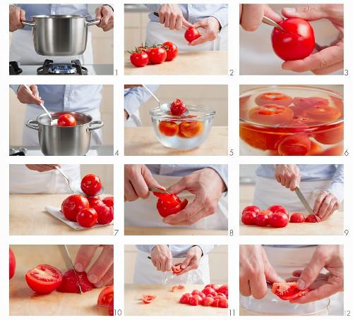 Blanching tomatoes